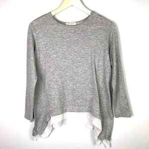Pebble and Stone Gray Layered Long Sleeve Blouse